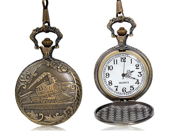 Train Pattern Bronze Round Quartz pendant Analog Pocket Watch M.(China (Mainland))