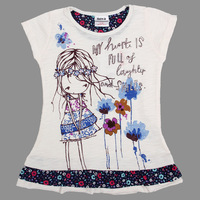 NEW!!! Free shipping 5pcs/lot 2~7y girl cotton printed lovely girl and sequin short sleeve tunic top with flower hem