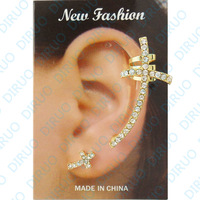 Wholesale Double Cross  Ear cuffs hook Clip Earrings fashion gothic punk heavy metal earrings for women no pierced earrings