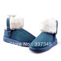 British style Cotton-Padded Shoes Velvet Thermal Thickening Women's Casual Boots Solid Color Round Toe Boots