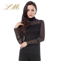 Autumn new arrival 2013 basic shirt female turtleneck long-sleeve T-shirt slim gauze lace Women top