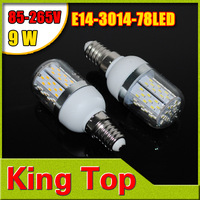 White/Warm white 9W SMD3014 78LEDs E14 Led Corn Bulb Vailable LED Chips  Corn lamp LED Bulb AC85V-265V 4Pcs/Lot Free Shipping