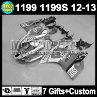 7gifts Injection For DUCATI panigale Grey white 1199 1199S 12-13 11Q75 12 13 1199 grey white FIAMM 1199S 2012 2013 Fairings  Kit