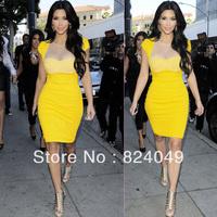 Free shipping 2014 Top Fashion Women Celebrity Style Tunic Business Patchwork Party Clubwear Evening Sheath Slim Bodycon Dress