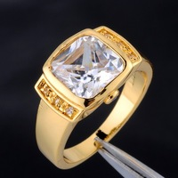 Genuine Brand Jewelry Square White Sapphire Crystal Stone 10KT Yellow Gold Filled Wedding  Ring