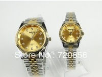 Free shipping 2013 hot sale vogue luxury rhinestone rose gold watches  full steel quartz elegant for men watch Promotion!
