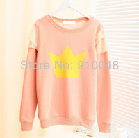 2013 autumn women king print shoulder lace decoration pullover hoodies # 37224  / fashion sweatshirt /  coat