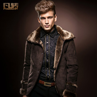 Royal men's clothing 2014 male winter fur overcoat male leather clothing male slim outerwear
