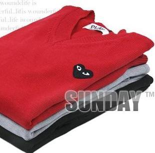 [해외]Play V-neck pullover sweater lovers sweater casual s..