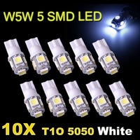 10pcs T10 DC 12V SMD 5050 5 LED w5w 194 168 white led instrument light Wedge Car Bulb LAMP Free Shipping
