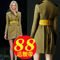 2013 autumn and winter dress  slim wool coat  fashion double breasted woolen outerwear female