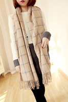Free shipping High quality vintage plaid tassel scarf three-color