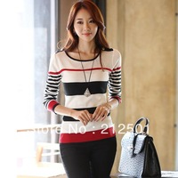 Free Shiping 2013 Autumn Winter New Korean Style Fashion Casual Long Sleeve Stripe Thin Sweater Pullover For Women