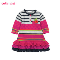 Catimini c female child autumn color polka dot cotton crotch long-sleeve knitted one-piece dress