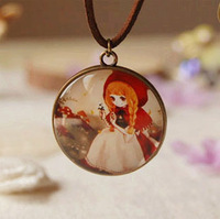 Cartoon Beautiful Girl Hoodwinked Pendant Necklace Leather Cord Long Necklaces Fashion Jewelry Necklace XL32