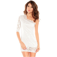 2014 New Women's Clothing One-piece Dress One Shoulder Half-sleeve Lace Sexy Pack Hip Fashion Female Short Dress