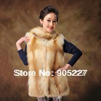 2014 popular real red fox fur medium-long vest outerwear full leather fox fur vest for ladies
