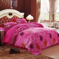 Cotton raschel 100% piece set winter thermal four piece bedding set thickening flannel short plush piece set