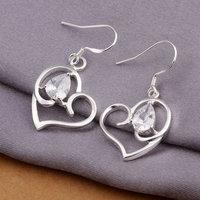 Wholesale 925 silver Earrings, 925 silver fashion jewelry, Inlaid Multi Heart Earrings-Silvery E257