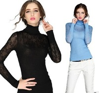 HOT Sale !2014 new women winter turtleneck render long sleeves  sweater female thickening sets of head hook flower wool sweater