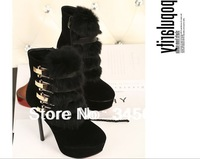 Stunning Women's Short Boots With Metal and Faux Fur Design