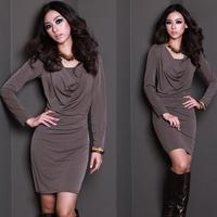 2014 Plus Size 5XL Fashion Long-sleeve Spring Autumn Elegant Slim Big Size Dress Plus Size Women's Clothing XXL XXXL 4XL XXXXXL