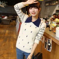 Clothing 2013 autumn women's sweater stripe pullover knitted basic shirt