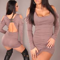 Freeshipping 2013 New Fashion Women Sexy Off Shoulder Long Sleeve Bodycon Clubwear Mini Dress Party Dress Gray Black