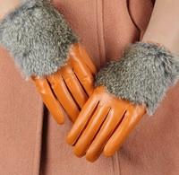 Free shipping  hot !!! fashion Women's gloves winter warm mink ball Rabbit fur gloves sheepskin leather gloves