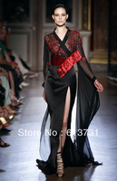 2013 Zuhair Murad Haute Couture Evening Dresses Long Sleeve Sexy See Through Black Prom Dresses ZH70