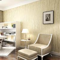 Fashion Wallpaper Non-woven Velvet Flocking Plain Stripe Modern Wall Paper Roll For Living Room Bedroom 10*0.53m