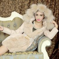 Female medium-long down coat luxury 2013 winter female slim rabbit fur coat