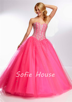 Newest long ball gown sweetheart corset with crystals hot pink nude tulle evening gown graduation party prom dresses 2014