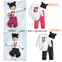 Wholesale New 2013 Baby Wear Boys Romper Baby Mickey Minnie Mouse Romper + Pants + Hat Christmas Costumes Bodysuits Baby Rompers
