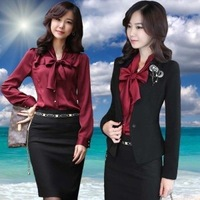 Nice quality 2013 elegant office lady professional slim women skirt suit set, 1 suit =Jacket + Skirt, with corsage
