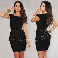 M L XL Plus Size Dress 2013 New Fashion Women Black/White Vintage Gold Edge Peplum Casual Dress Elegant OL Work Dress