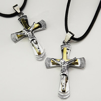 2pcs Lovers Top 316L Titanium Stainless Steel Women Mens Costume Silver Gold Jesus Cross Necklaces Wholesale Jewelry A-879