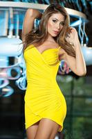 Black/White/Yellow 2013 New Fashion Women Sexy Deep V-neck Spaghetti Strap Ruched Clubwear Dress Party Mini Dress