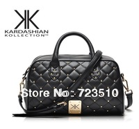 New fashion high quality handbags Kardashian kk plaid rivet shoulder bag handbag messenger bag women's handbag work bags