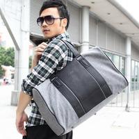 Free shipping new 2013 casual men travel bags PU patchwork men's handbag japan style big shoulder bag