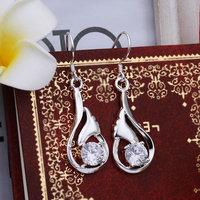 Wholesale UK Queen Titanic Ocean Heart 925 Silver Earrings with Blue Sapphire Fashion Bridal Wedding Earrings Free Shipping E261
