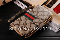 Luxury Floral Wallet Genuine Leather Case Flip Card Real Leather Smart Cover Case for Samsung Galaxy Note 3 N9000 10pcs/lot