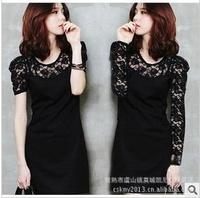 Hot sale!women clothing Bodycon peplum flower lace dress slash o-neck sexy evening mini dress black Free Shipping