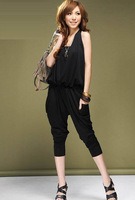 2013 NEW Europe Womens Fashion Elegant Halter Black slim harem pants Casual piece pants