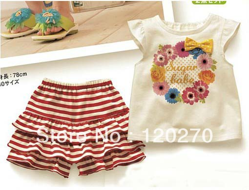 Free Shipping Summer Baby Girls Short-Sleeved Foral T-shirt Striped PP Shorts Infant Toddlers Two-Piece Suits Children's Outfits(China (Mainland))