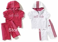 2013 Summer Children Set Baby Hooded Short Sleeve Tops And Shorts Sport Set Kids Clothing 3 SET