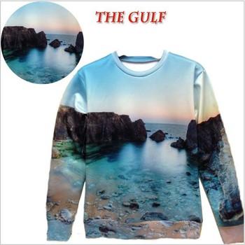 2014 Модный Женщины/Men Funny 3d landscape sweatрубашка printed the sea beautiful ...