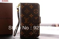 Luxury Floral Wallet Genuine Leather Case Flip Card Real Leather Smart Cover Case for Samsung Galaxy Note 2 N7100 +1pcs film