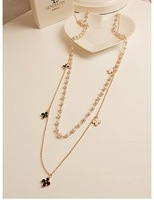 Hot sale clover multilayer pearl long necklace high quality Korea Jewelry Free shipping/Wholesale 7-5-1