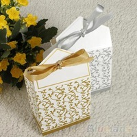 50pcs Creative Golden Silver Ribbon Wedding Favours Party Christmas Gift Candy Paper Box